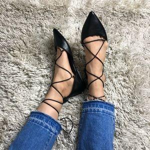 ALDO black lace up flats